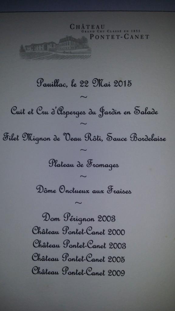 Pontet Canet - menu